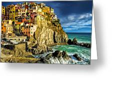Stormy Day In Manarola - Cinque Terre Greeting Card