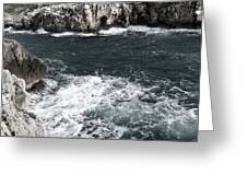 Mediterranean Sea And Rocks Sculpted By Wind And Salt In South Of Menorca Greeting Card