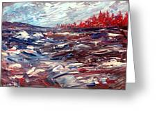 Stormy Lake Abstract Greeting Card