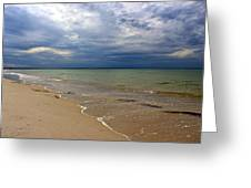 Stormy Mayflower Beach Greeting Card by Amazing Jules