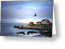 Stormy Night At Portland Headlight Greeting Card