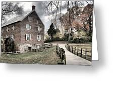 Stormy Skies Over The 1823 Grist Mill Greeting Card