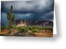 Stormy Skies Over The Superstitions Greeting Card