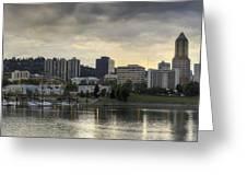 Stormy Sky Over Portland Skyline Panorama Greeting Card