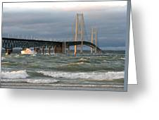 Stormy Straits Of Mackinac Greeting Card