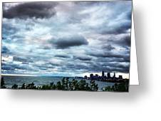 Stormy Sunrise Over Cleveland Greeting Card