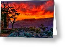 Stormy Sunset At The Watchtower Greeting Card