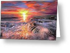 Stormy Sunset At Water's Edge Greeting Card