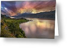 Stormy Sunset Over Columbia River Gorge At Hood River Greeting Card