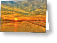 Stormy Sunset Over Santa Ana River Greeting Card