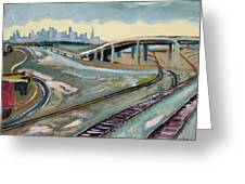 Stormy Train Tracks And San Francisco  Greeting Card
