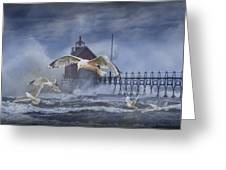 Stormy Weather At The Grand Haven Lighthouse Greeting Card