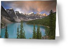 Stormy Weather Over Moraine Lake Greeting Card