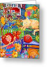 Storybook Girl And Cat Greeting Card