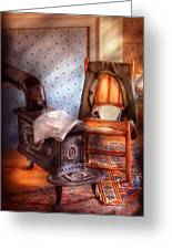 Stove - The Stove And The Chair  Greeting Card by Mike Savad