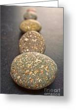 Straight Line Of Speckled Grey Pebbles On Dark Background Greeting Card