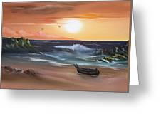 Stranded At Sunset Greeting Card by Cynthia Adams