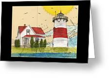 Stratford Pt Lighthouse Ct Nautical Chart Map Art Greeting Card