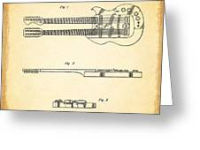 Stratosphere Double Neck Guitar Patent Greeting Card by Mark Rogan