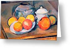 Straw Covered Vase Sugar Bowl And Apples Greeting Card