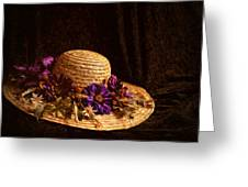 Straw Hat And Flowers Greeting Card