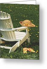 Straw Hat On Chair Greeting Card