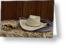 Straw Hat  On  Hay Greeting Card