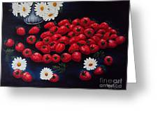 Strawberries And Daisies Original Painting Oil On Canvas Greeting Card by Drinka Mercep