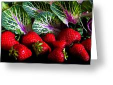 Strawberries And Kale. Greeting Card