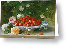 Strawberries In A Blue And White Buckelteller With Roses And Sweet Briar On A Ledge Greeting Card by William Hammer