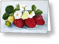 Strawberries With Blossoms Greeting Card
