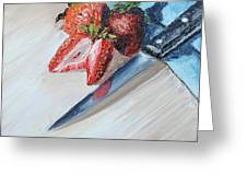 Strawberries With Knife Greeting Card