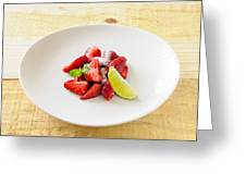 Strawberries With Lime And Mint Greeting Card