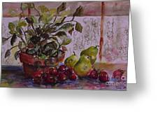 Strawberry Afternoon W/ Pears Greeting Card