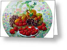 Strawberry And Grapes Greeting Card