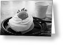 Strawberry Cheesecake Pastry Single Serving On Disposable Plastic Plate With Coffee Usa Greeting Card
