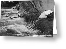 Stream Cascades Over Small Dam Greeting Card