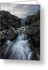 Stream Flows Over A Waterfall Greeting Card