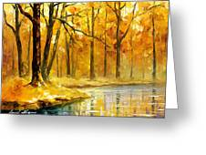 Stream In The Forest - Palette Knife Oil Painting On Canvas By Leonid Afremov Greeting Card