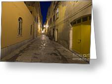 Street Alley By Night Greeting Card