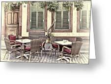 Street Cafe In Heidelberg Greeting Card