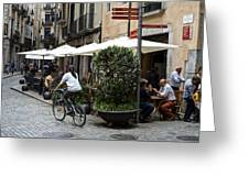 Street Corner Girona Spain Greeting Card