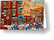 Street Hockey Practice Wilensky's Diner Montreal Winter Street Scenes Paintings Carole Spandau Greeting Card