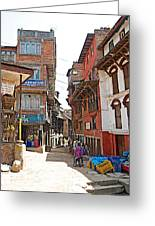 Street In Bhaktapur-city Of Devotees-nepal  Greeting Card