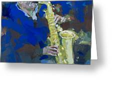 Street Jazzman Near Park  Greeting Card