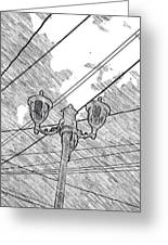 Street Lamps And Straight Lines Greeting Card