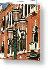 Street Lamps Of Venice Greeting Card
