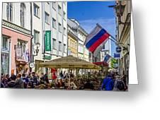 Street Life - Tallin Estonia  Greeting Card