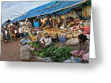 Street Market In Siem Reap Greeting Card by Sami Sarkis