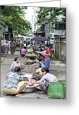 Street Market In Yangon Myanmar Greeting Card